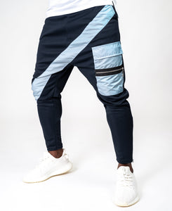 Bleumarin trousers with blue long line and pockets - Fatai Style