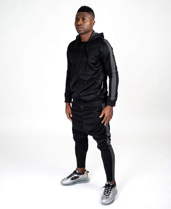 Black tracksuit with grey lines - Fatai Style