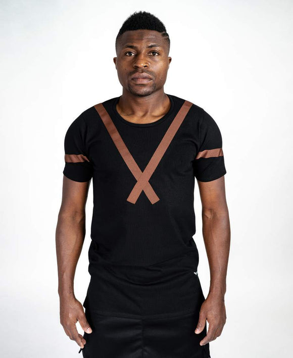 Black t-shirt with brown design - Fatai Style