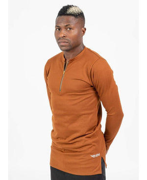 Brown Shirt with Zip - Fatai Style