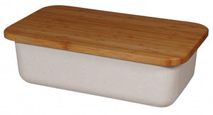 Zuperzozial - Bread Bin & Bamboo Cutting Board with lid, Coconut White - Vama Kitchens Ltd