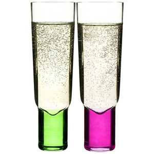 Sagaform - Club champagne glasses, 2-pack, Pink & Green - Vama Kitchens Ltd