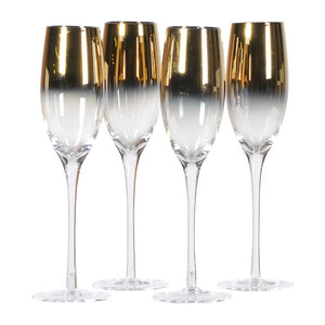 CH - Gold Plated Glass Flute - Vama Kitchens Ltd