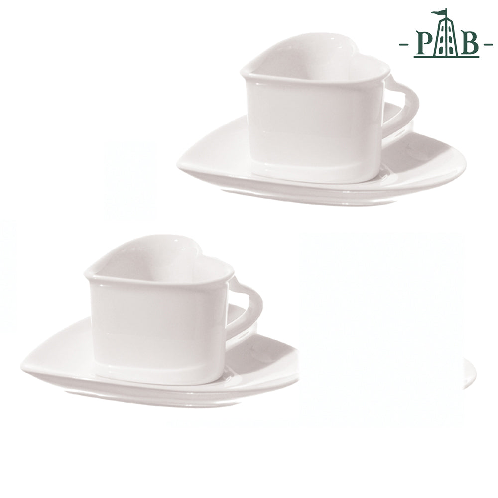La Porcellana Bianca - Cupido Heart 2 Coffee cups W/S GB - Vama Kitchens Ltd
