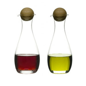 Sagaform - Oil/vinegar bottles with oak stoppers, 2-pack - Vama Kitchens Ltd