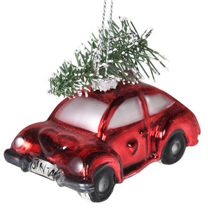 VK - Small Red Car Carrying Tree Bauble