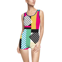80's Women's Swimsuit - colorful bold print vintage Memphis design
