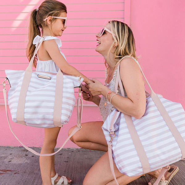 <i>the</i> BON VOYAGE DUFFLE MINI <i>blush and white stripe</i>