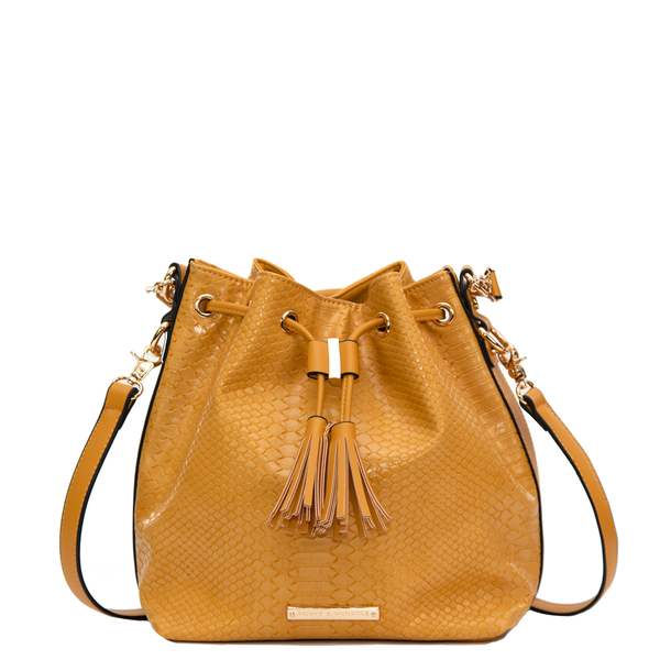 the DESERT BUCKET BAG marigold croco