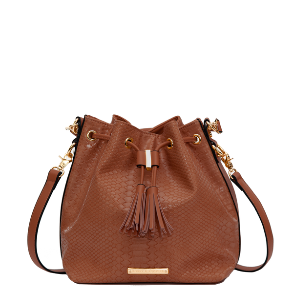 the DESERT BUCKET BAG toffee croco