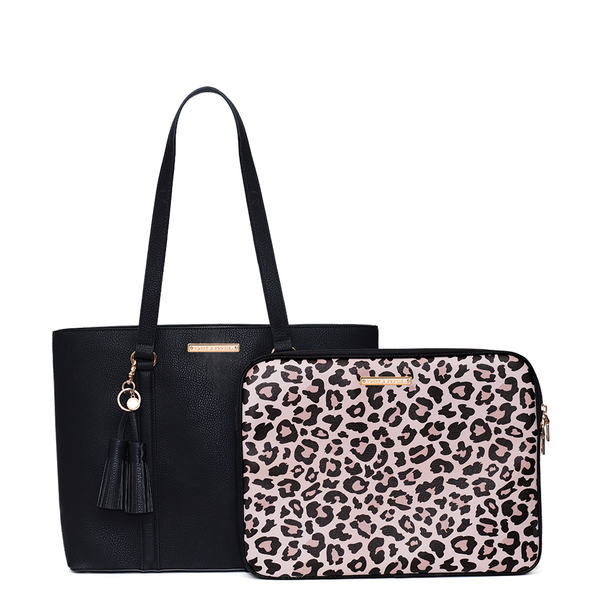 the GO-GETTER TOTE black & leopard