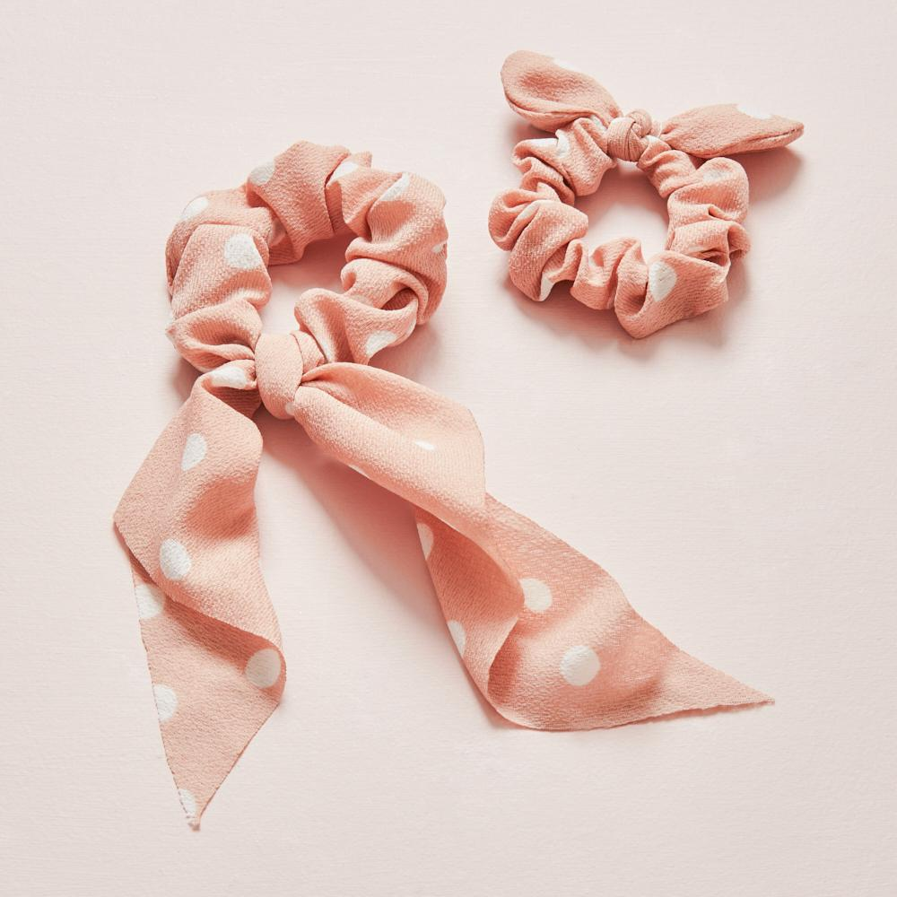 ALL TIED UP SCRUNCHIE SET MINI dusty pink polka dot