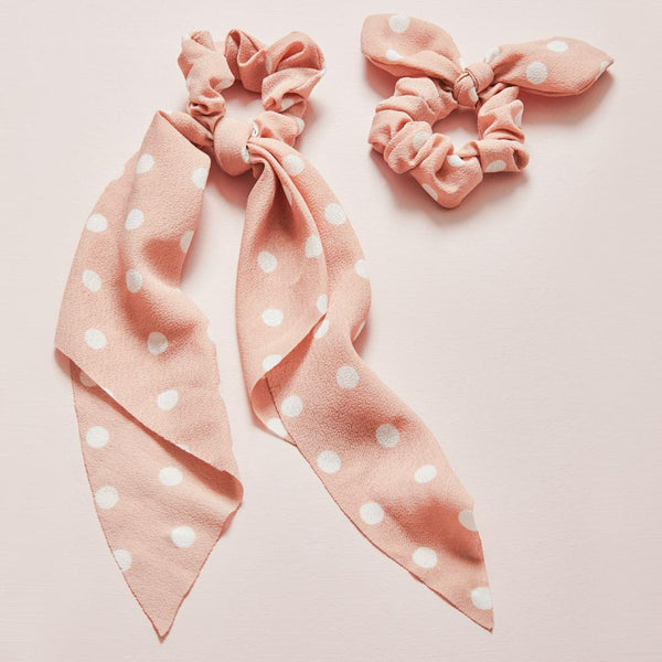 ALL TIED UP SCRUNCHIE SET dusty pink polka dot