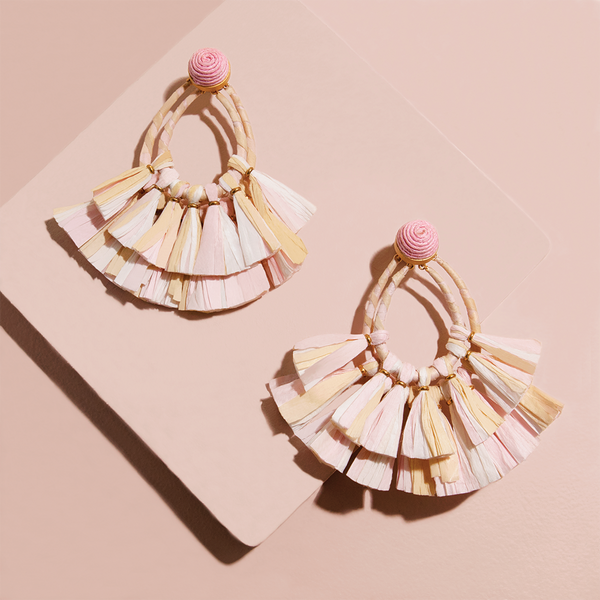ISLAND RAFFIA EARRINGS  <i>blush</i>