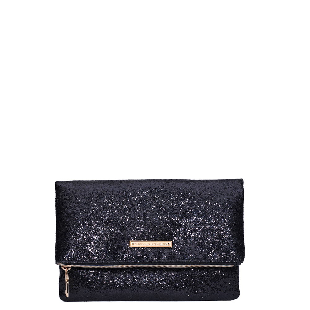 <i>the</i> RUBY CLUTCH <i>black glitter</i>
