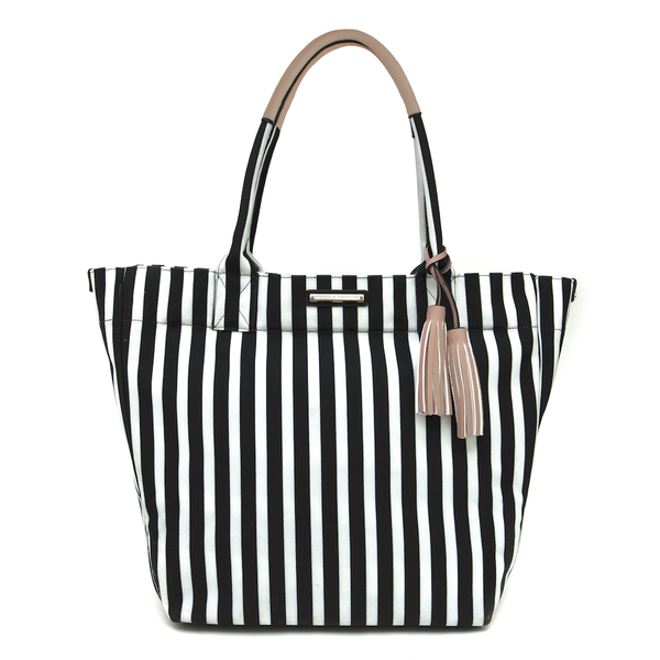 FUN IN THE SUN BEACH TOTE </br><i>black and white stripe</i>