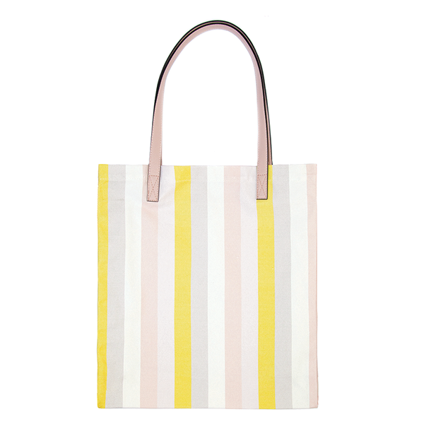 TAN LINES CANVAS TOTE <i>spring stripe</i>