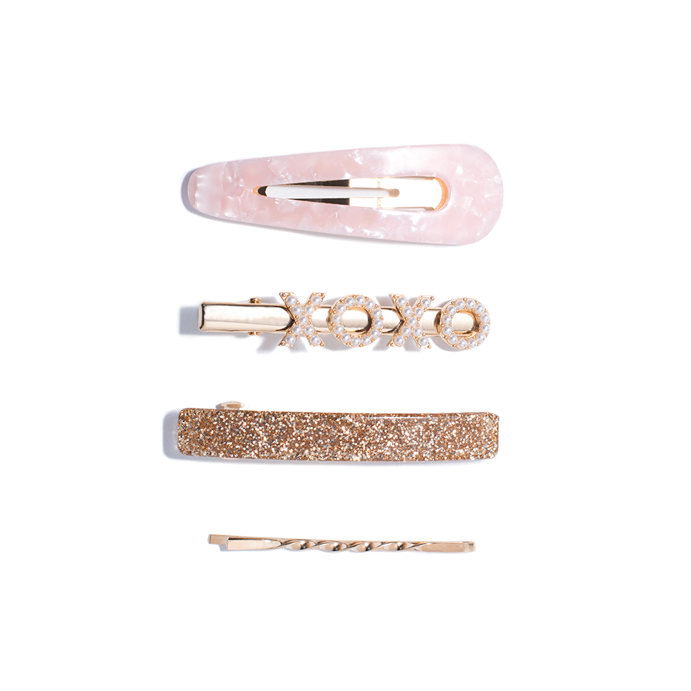 WITH LOVE HAIR CLIPS pink & gold