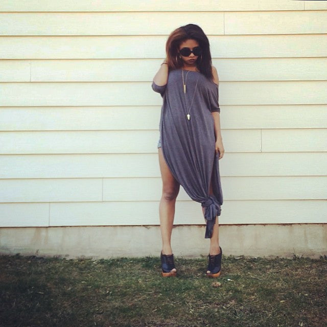 Charcoal Vent Tee Maxi T-Shirt Dress  [new colors] - BABOOSHKA BOUTIQUE - 28