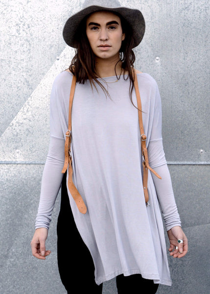 Cool Silver Gray Vent Tee Mini Dress - BABOOSHKA BOUTIQUE - 1