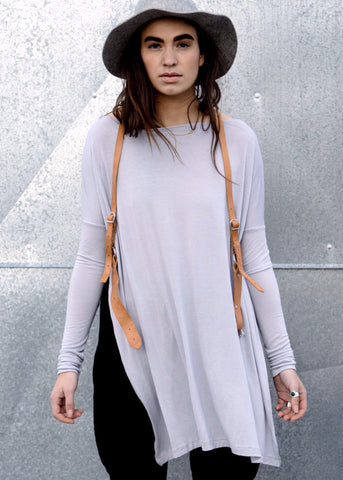 Vent Tee Mini Dress - Silver - FINAL SALE