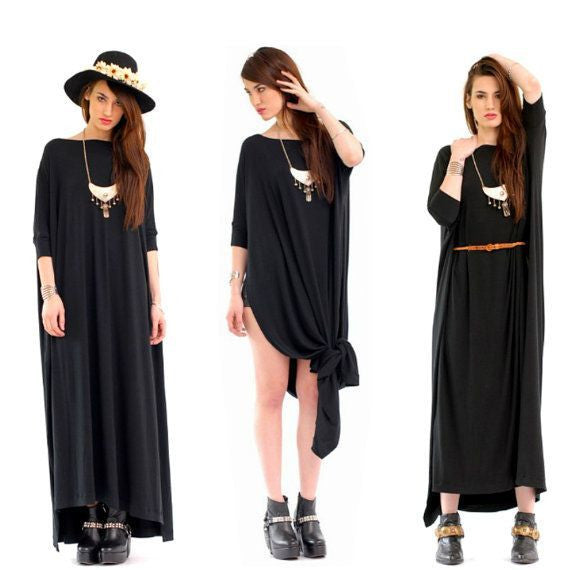 Black Vent Tee Maxi Dress - BABOOSHKA BOUTIQUE - 2