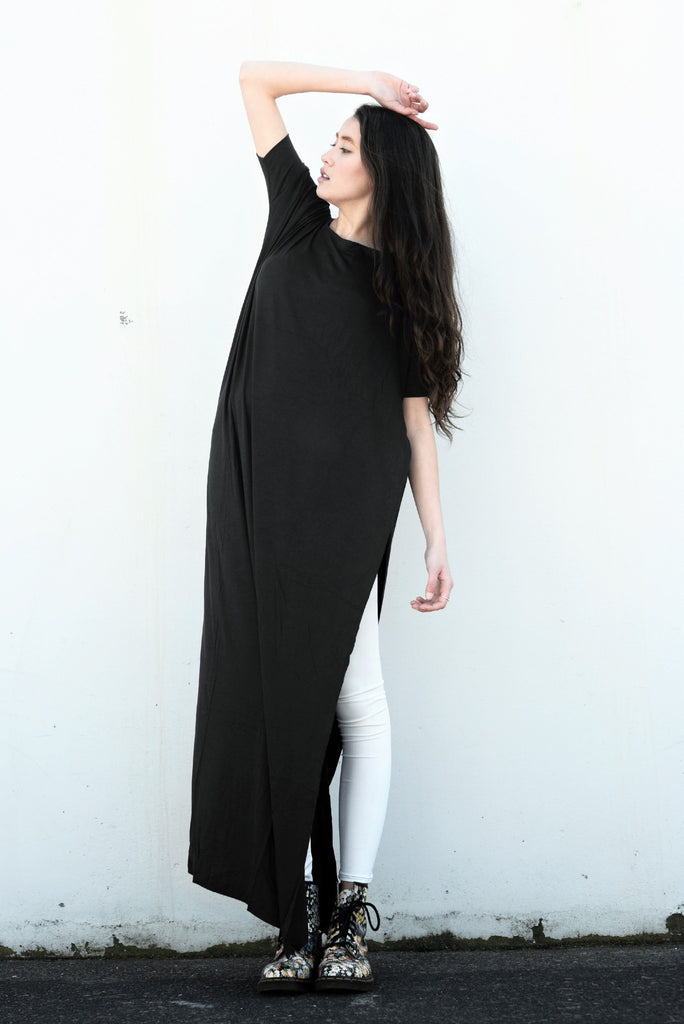 Black Vent Tee Maxi Dress - BABOOSHKA BOUTIQUE - 6