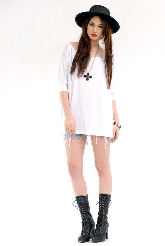 White Vent Tee T-Shirt - BABOOSHKA BOUTIQUE - 13
