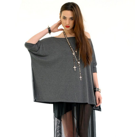 Charcoal Gray Vent Tee T-Shirt - BABOOSHKA BOUTIQUE - 4