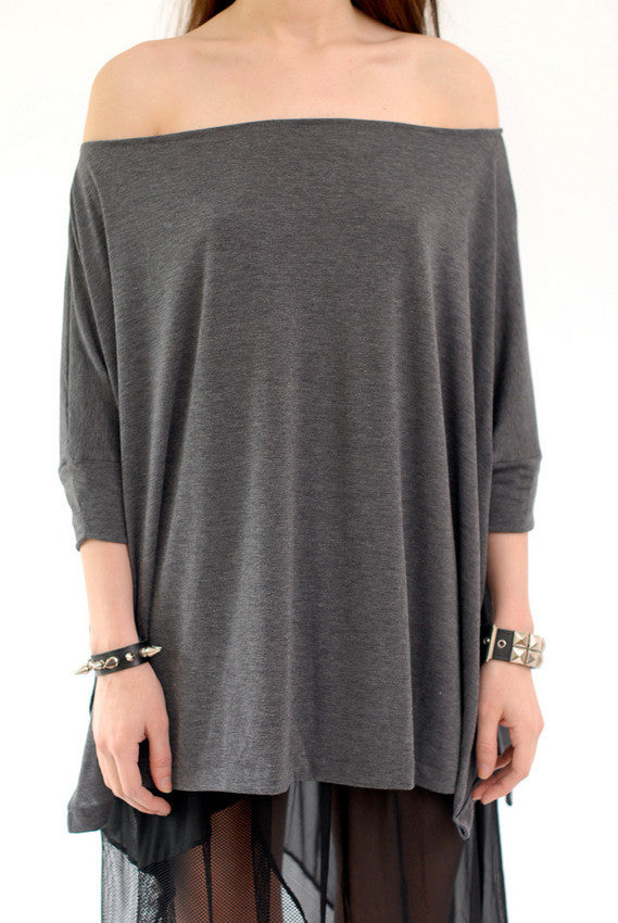 Charcoal Gray Vent Tee T-Shirt - BABOOSHKA BOUTIQUE - 7