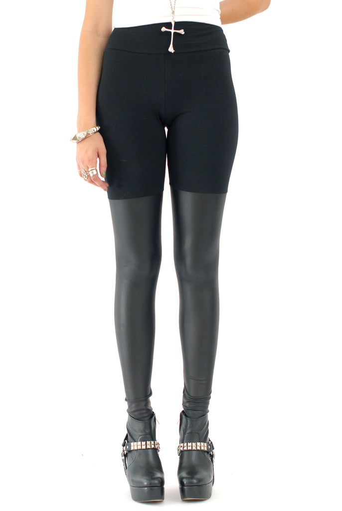 Black Out Leather Thigh High Leggings - BABOOSHKA BOUTIQUE - 12