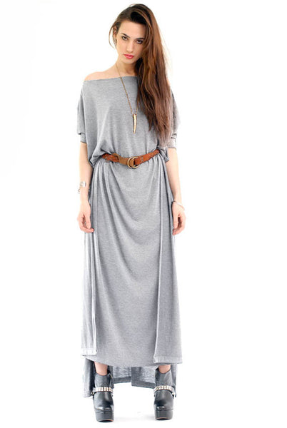 Heather Gray - Vent Tee Maxi T-Shirt Dress - BABOOSHKA BOUTIQUE - 1