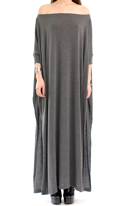 Charcoal Vent Tee Maxi T-Shirt Dress  [new colors] - BABOOSHKA BOUTIQUE - 7