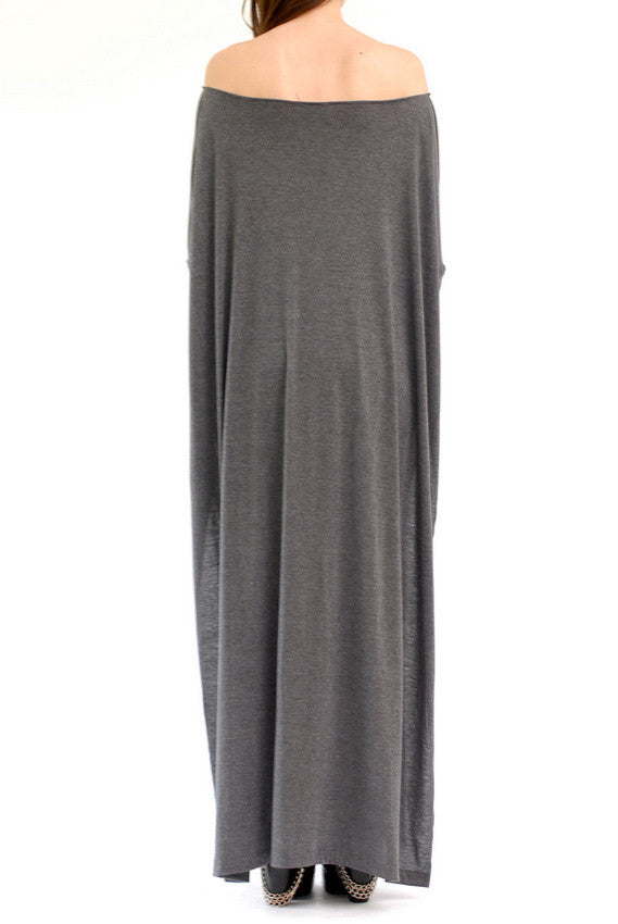 Charcoal Vent Tee Maxi T-Shirt Dress  [new colors] - BABOOSHKA BOUTIQUE - 11