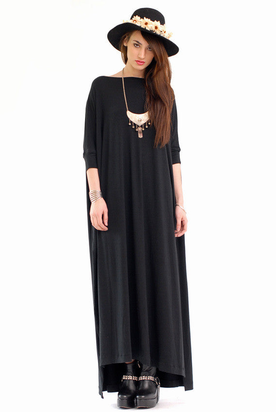 Black Vent Tee Maxi Dress - BABOOSHKA BOUTIQUE - 23
