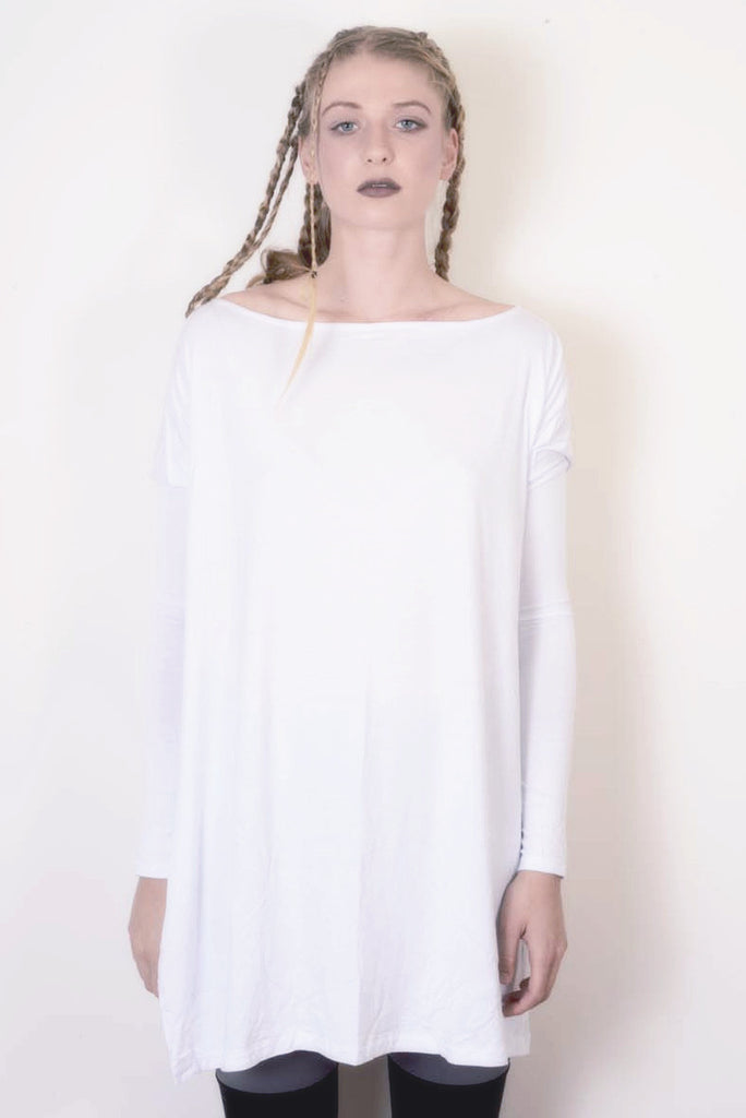 Cool White Vent Tee Mini Dress - BABOOSHKA BOUTIQUE - 7