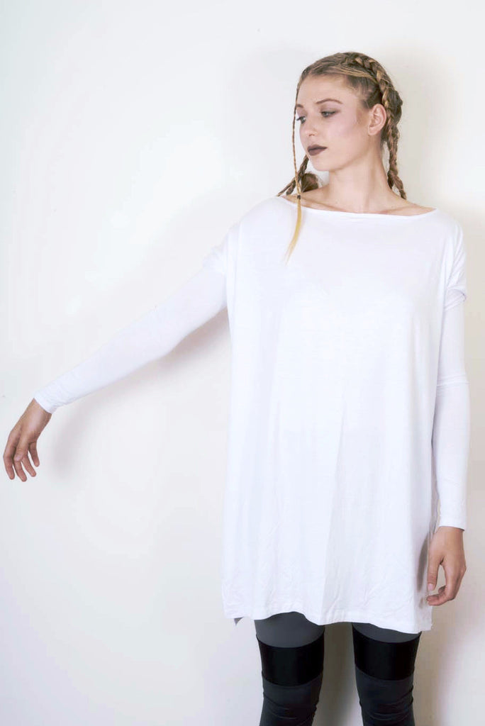 Cool White Vent Tee Mini Dress - BABOOSHKA BOUTIQUE - 6