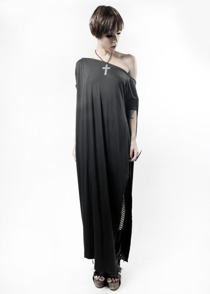 Charcoal Vent Tee Maxi T-Shirt Dress  [new colors] - BABOOSHKA BOUTIQUE - 14