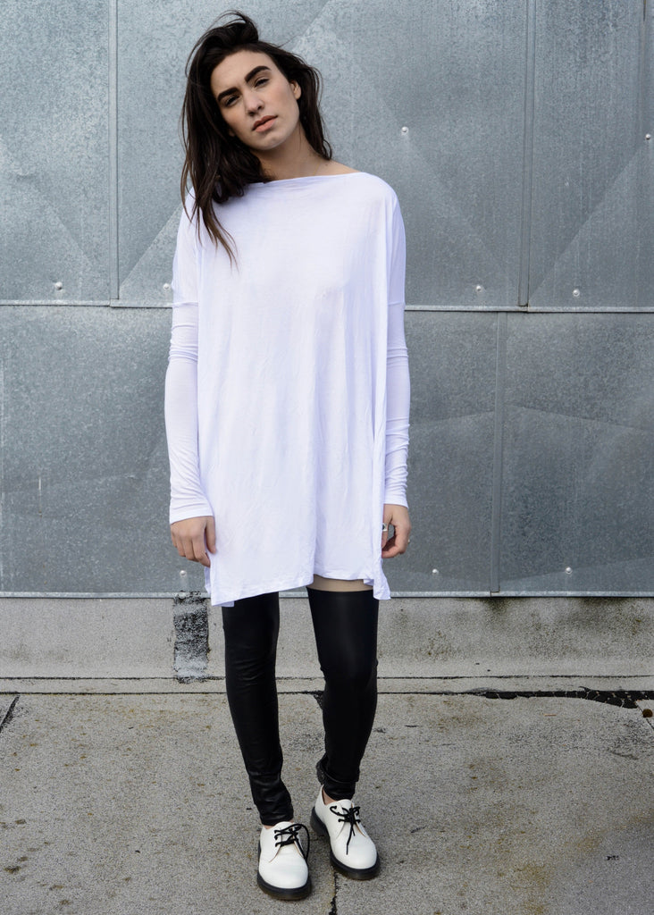 Cool White Vent Tee Mini Dress - BABOOSHKA BOUTIQUE - 1