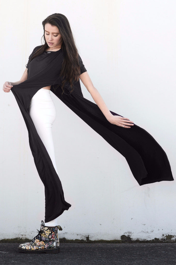 Black Vent Tee Maxi Dress - BABOOSHKA BOUTIQUE - 5