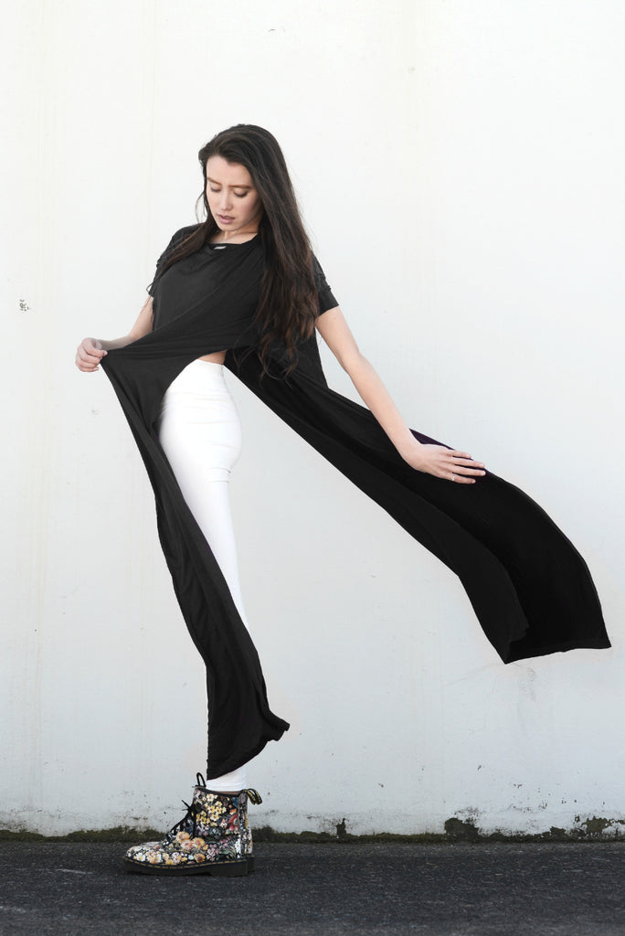 Charcoal Vent Tee Maxi T-Shirt Dress  [new colors] - BABOOSHKA BOUTIQUE - 17