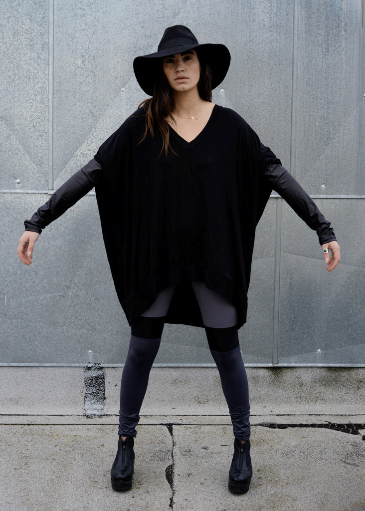 Black Leather Long Sleeve Asymmetrical Oversized T-Shirt Dress - BABOOSHKA BOUTIQUE - 15