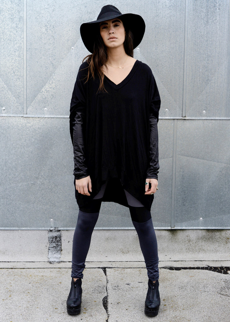 Black Leather Long Sleeve Asymmetrical Oversized T-Shirt Dress - BABOOSHKA BOUTIQUE - 7