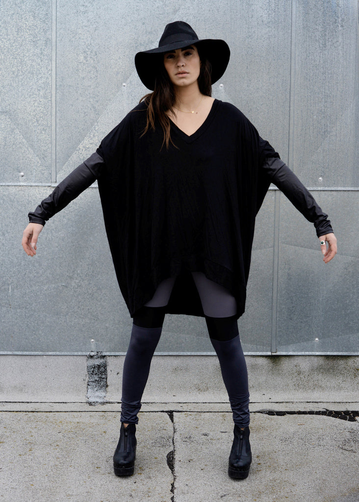 Black Leather Long Sleeve Asymmetrical Oversized T-Shirt Dress - BABOOSHKA BOUTIQUE - 1