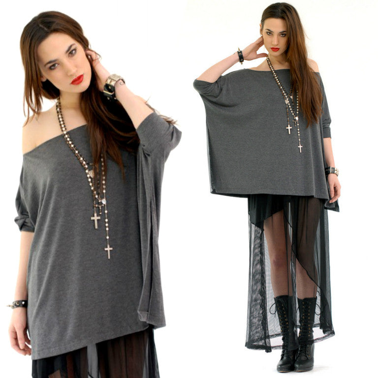 Charcoal Gray Vent Tee T-Shirt - BABOOSHKA BOUTIQUE - 6