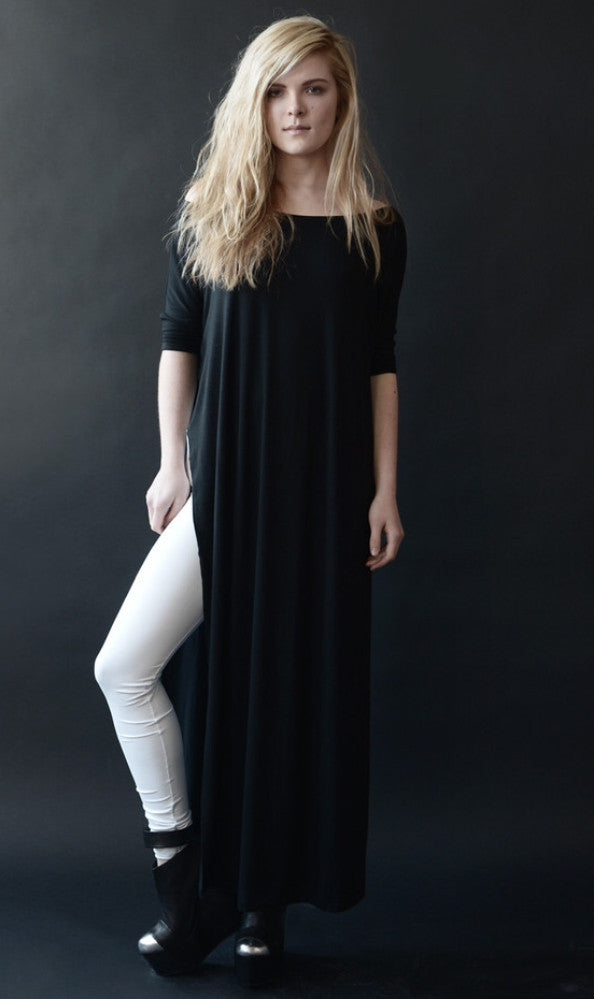 Black Vent Tee Maxi Dress - BABOOSHKA BOUTIQUE - 24