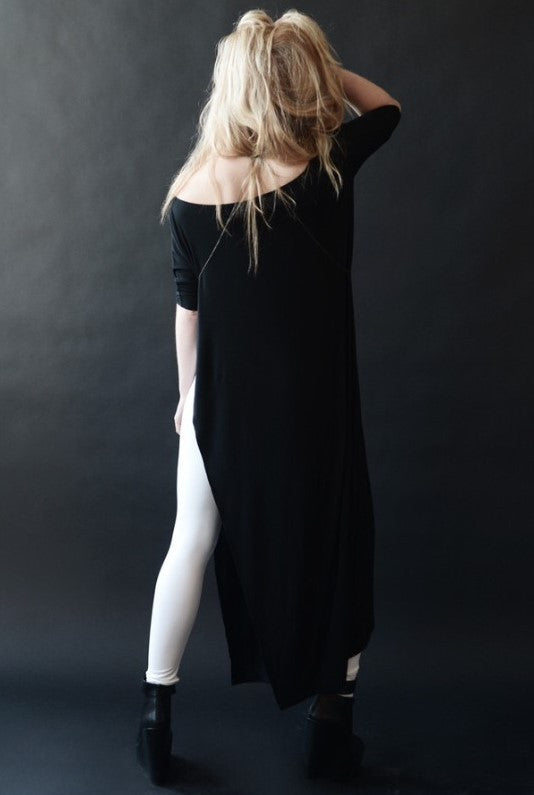Charcoal Vent Tee Maxi T-Shirt Dress  [new colors] - BABOOSHKA BOUTIQUE - 19