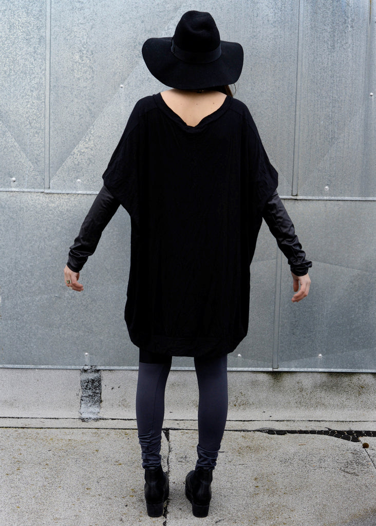 Black Leather Long Sleeve Asymmetrical Oversized T-Shirt Dress - BABOOSHKA BOUTIQUE - 14
