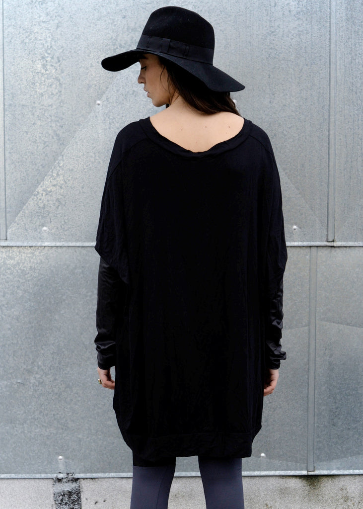 Black Leather Long Sleeve Asymmetrical Oversized T-Shirt Dress - BABOOSHKA BOUTIQUE - 8