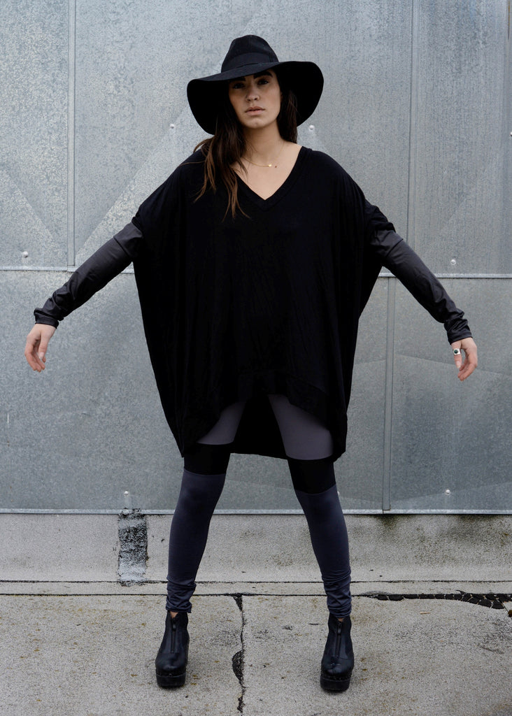 Black Leather Long Sleeve Asymmetrical Oversized T-Shirt Dress - BABOOSHKA BOUTIQUE - 19